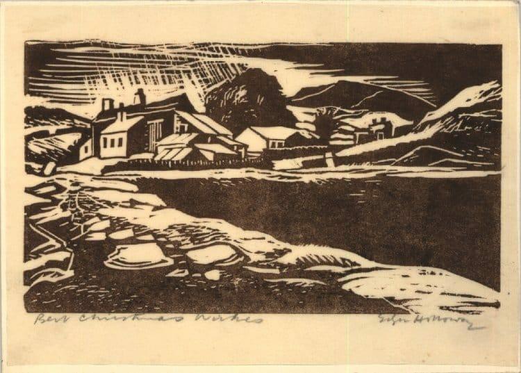 Edgar Holloway trykt julekort. Trykt i brunt blæk på orientalsk papir.
